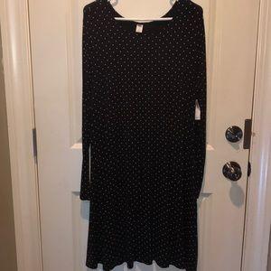 Black Knit Dress w white polka dots